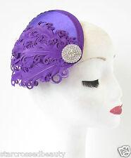 Violet & Argent Plume Bandeau De Bibi Chapeau Vintage Les Années 1940 Strass S28