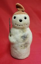 1920's Vintage Antique Snowman Felt Candy Container 7.5""