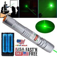 300Miles Green Laser Pointer Pen 532nm Lazer Beam Light 2x 18650 Battery+Charger