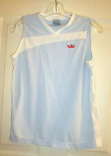 NIKE V-NECK SLEEVELESS TOP * WOMENS MEDIUM * LIGHT BLUE w/ WHITE TRIM & RED LOGO