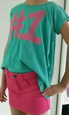 Ensemble Top vert destructure SISLEY ET Jupe jean rose fushia BENETTON 7 8 ans