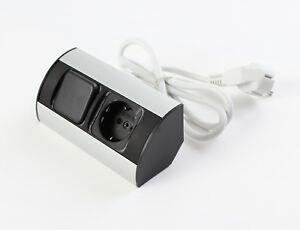 Kombi-Box Alu schwarz Schalter Steckdose Spiegelschrank Möbelbeleuchtung #HRS-M9