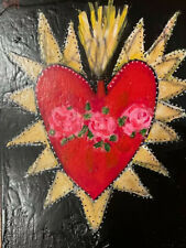 Original Outsider Art, 11x14 On Cradled Board, Sacred Heart With Roses Textured