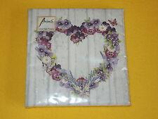 20 servilletas corazones púrpura flores corazón violeta 1/4 madera lila 1 envase OVP