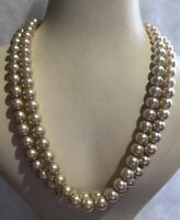 Twin Strand Necklace Vintage Faux Pearl 1950s Style Box Clasp Jewellery Jewelry