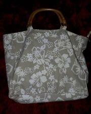 Rockabilly 50s Retro Hawaiian Beach Bag Hibsicus Pattern Fabric Cane Handles