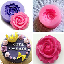 Rose Flower 3D Fondant Cake Chocolate Sugarcraft Mold Cutter Tools DIY kang