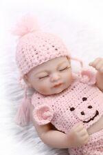 Full Body Silicone Baby Doll Girl 10 inch Real Life Cute Newborn Sleepping New