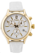 NWOT Ladies Timex T2P418 White Leather Strap Silver Chronograph Dial Watch