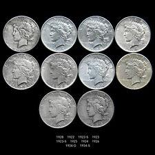 PEACE SILVER DOLLAR COIN LOT (10 PIECE COIN COLLECTION) MIXED DATES