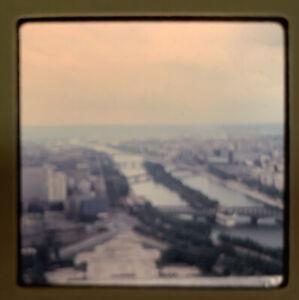 1965 Kodachrome Photo Slide 35mm Eiffel Tower Paris France Panorama Terrace View