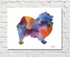 Keeshond Contemporary Watercolor Abstract Art Print by Artist Djr