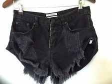 One Teaspoon Fox Black Bandit Shorts Sz 24