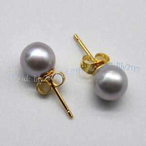7-8mm Round Silver Gray Akoya Real Natural Pearl 14K Yellow Gold Stud Earrings