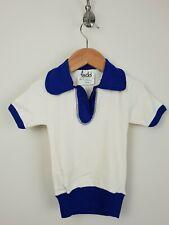 1970s Sin Uso Beige Azul Algodón Manga S-Abierto Cuello Camisa Polo * 3-4yrs*MC92