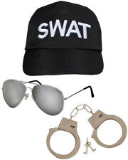 SWAT TEAM FANCY DRESS 3 PIECE CAP HAT AVIATOR GLASSES AND HANDCUFFS COSTUME SET
