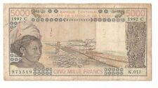New listing  00006000 West African States 5000 francs C For Burkina Faso (Upper Volta) 1992 P.
