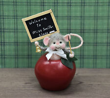 "Needle Felted ""Back to School"" Mouse In Apple - Personalizable Too!"