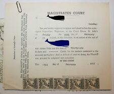 NEWFOUNDLAND MAGISTRATE COURT SUMMONS W/ 5 UN-CANCELLED 10C REVENUE STAMPS NFR27