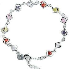 ELEGANT CLASSY STERLING SILVER 925 COLOURFUL BRACELET  SQUARE CRYSTAL