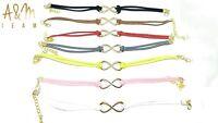 Vintage Retro Infinity Charm Eternal Friendship Wish Leather Bracelet