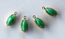 VINTAGE 4 GREEN MOONSTONE GLASS NAVETTE PENDANT BEADS BRASS SETTING 12x6mm