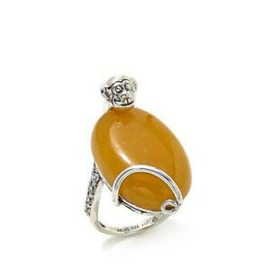 Jade of Yesteryear Yellow 0.5ct Jade and CZ 14K White Gold Over Ring Size 7.5