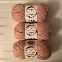 3 Skeins of Yarn Lion Brand New Basic 175 Peony Acrylic Wool Blend 175 Yrds/skn