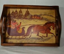 1990 Telle M Stein Print Serving Tray Signed And Dated Christmas Wood