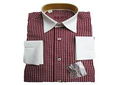 Burgundy Wine Check Double Cufflink Shirt For Boys 3-4-5-6-7-8-11-12-15-16 years