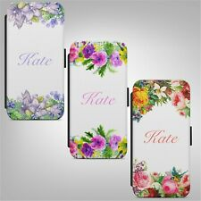 Personalised Name Floral Flower FLIP PHONE CASE COVER for IPHONE SAMSUNG HUAWEI