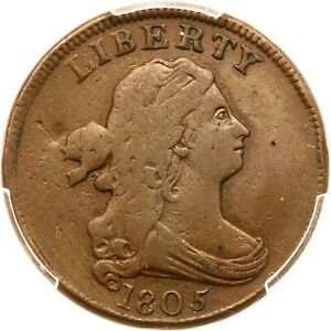 1805 C-3 R-4 PCGS VF 20 Sm 5, Stems Draped Bust Half Cent Coin 1/2c
