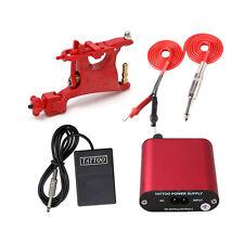 Pro Rotary Tattoo Machine Gun & power supply & pedal & silicion clip cord kit