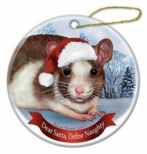 Holiday Pet Gifts Brown and White Rat Santa Hat Porcelain Ornament