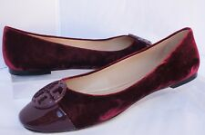 Tory Burch Chelsea Cap Toe Ballet Shoes Ballet Flats Size 7 Velvet Red