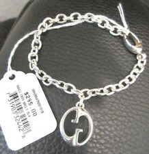 $295 Gucci Sterling Silver 1973  Bracelet with interlocking G charm 7""