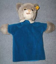 Steiff Cat hand Puppet no. 6465/27 with Button and Tag in Ear