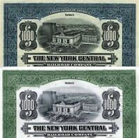 2 $1000 NY CENT RR BONDS incl RARE 1913 GREEN! GRAND CENTRAL/FULL COUP SHEET $10