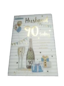"""ICG Husband 90th Birthday Card - Champagne Bunting Balloons with Gold Foil  9x6"""""""