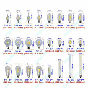 E12 E26 C35 G45 G80 ST64 T45 T30 Vintage Filament LED Candle/Globe Light Bulb