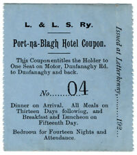 (I.B) Londonderry & Lough Swilly Railway : Hotel & Motor Bus Coupon
