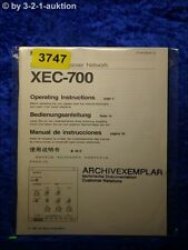 Sony Bedienungsanleitung XEC 700 Crossover Network (#3747)