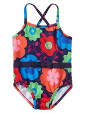 GAP Baby / Toddler Girl 18-24 Months Blue Floral Bow One-Piece Bathing Suit