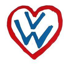 VW Volkswagen Heart Sticker, Vintage Sports Car Racing Decal, Beetle, Bus, Bug