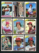 1980 Topps & Burger King SIGNED LOT of 9 PHILLIES cards Boone Bowa Unser Green