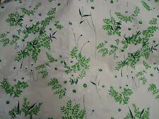 Vintage Gorgeous GREEN & WHITE FLORAL Fabric (50cm x 50cm)