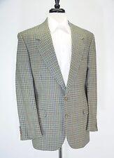 Vintage Bespoke Made in France Green Blue Windowpane Houndstooth Wool Blazer 44L