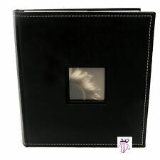 Black Leather 5 x 7 in Album Quality slip in pocket photo album holds 200 photo