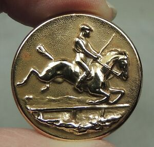 ANTIQUE BRASS PICTURE BUTTON ~ HORSE& RIDER JUMPING FENCE