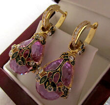SALE !  SUPERB RUSSIAN AMETHYST STERLING SILVER 925  EARRINGS w/ ENAMEL